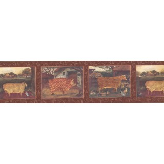 6 1/2 in x 15 ft Prepasted Wallpaper Borders - Burgundy Country Animals Wall Paper Border