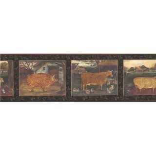 6 1/2 in x 15 ft Prepasted Wallpaper Borders - Black Country Animals Wall Paper Border