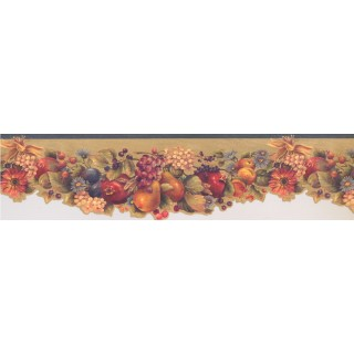 5 3/4 in x 15 ft Prepasted Wallpaper Borders - Green Fruit and Flowers Wall Paper Border