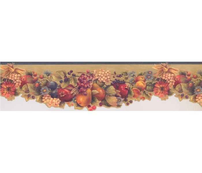 Garden Wallpaper Borders: Green Fruit and Flowers Wallpaper Border