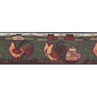 8 in x 15 ft Prepasted Wallpaper Borders - Blue Country Roosters Wall Paper Border