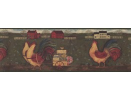 Prepasted Wallpaper Borders - Rust Country Roosters Wall Paper Border
