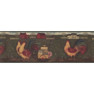 8 in x 15 ft Prepasted Wallpaper Borders - Rust Country Roosters Wall Paper Border