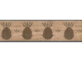 Prepasted Wallpaper Borders - Brown and Blue Fruit Pineapple Wall Paper Border