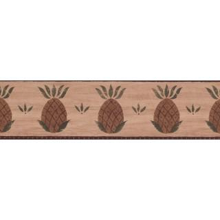 6 1/2 in x 15 ft Prepasted Wallpaper Borders - Burgundy Fruit Pineapple Wall Paper Border