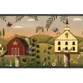 Bird Houses Wallpaper Borders: Green Country Birdhouse Wallpaper Border