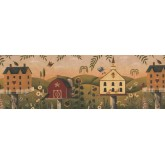 Country Wallpaper Borders: Rust Country Birdhouse Wallpaper Border