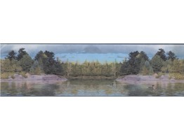 7 in x 15 ft Prepasted Wallpaper Borders - LAKE SCENE OUTDOORS  Wall Paper Border