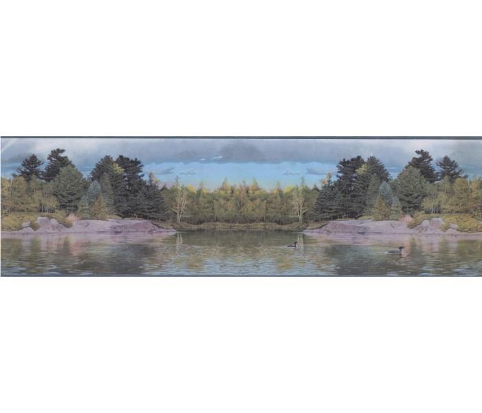 Landscape Wallpaper Borders: LAKE SCENE OUTDOORS  Wallpaper Border