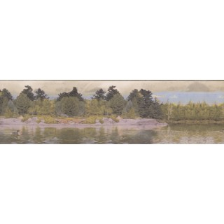 7 in x 15 ft Prepasted Wallpaper Borders - Lake Forest Wall Paper Border