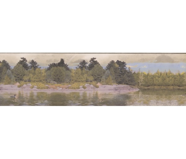 Landscape Lake Forest Wallpaper Border York Wallcoverings