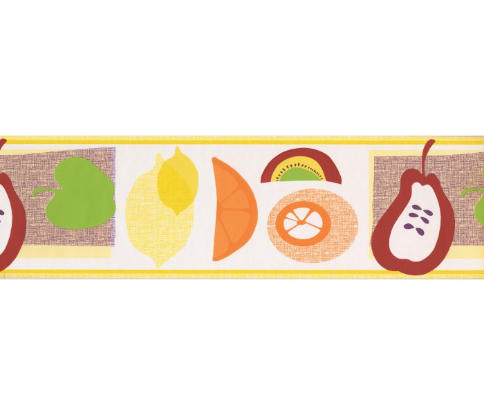 Yellow White Abstract Fruits Wallpaper Border