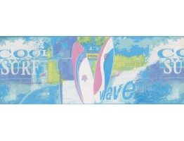 8 1/2 in x 15 ft Prepasted Wallpaper Borders - Blue Green Pink Cool Surf Wall Paper Border