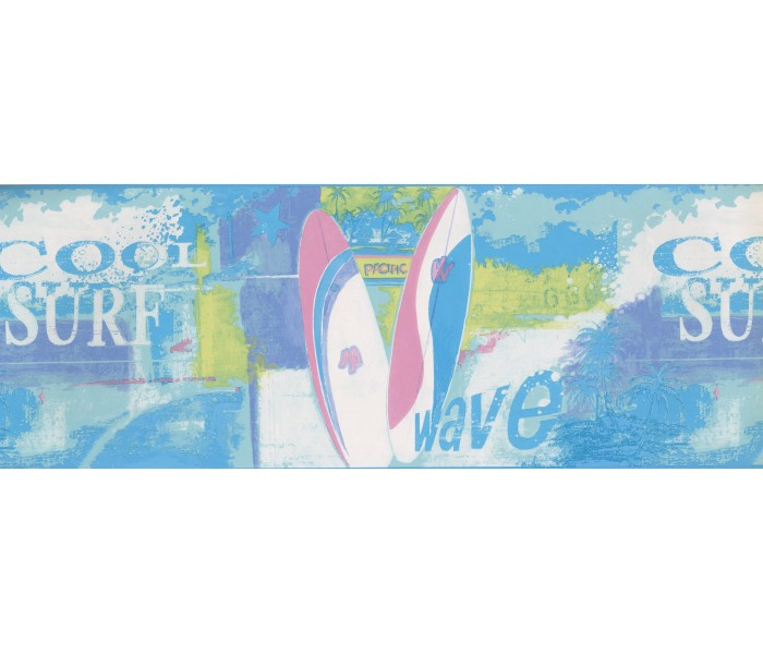 Clearance: Blue Green Pink Cool Surf Wallpaper Border
