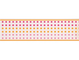 Prepasted Wallpaper Borders - CONTEMPORARY GIRLS PINK & ORANGE SQUARES  Wall Paper Border