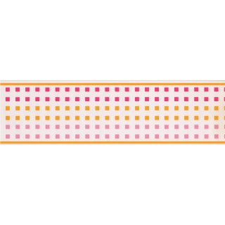7 in x 15 ft Prepasted Wallpaper Borders - CONTEMPORARY GIRLS PINK & ORANGE SQUARES  Wall Paper Border