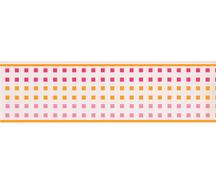 Clearance: CONTEMPORARY GIRLS PINK & ORANGE SQUARES  Wallpaper Border