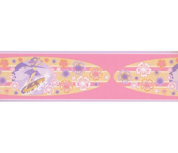 Nursery Wallpaper Borders: Purple Pink Hawaiian Surf Board Wallpaper Border