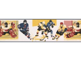 Prepasted Wallpaper Borders - Yellow Watch Me Grow Hockey Wall Paper Border