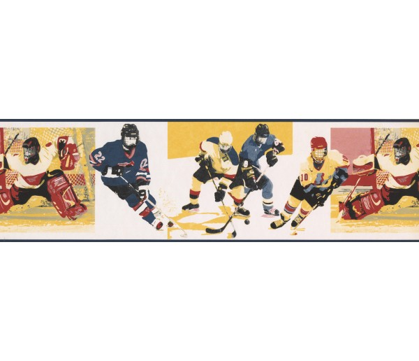 Sports Wallpaper Borders: Yellow Watch Me Grow Hockey Wallpaper Border