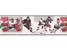 White Watch Me Grow Hockey Wallpaper Border