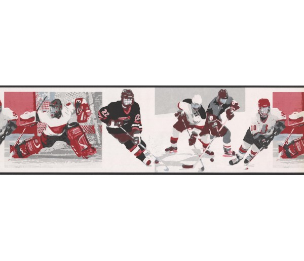 Prepasted Wallpaper Borders - White Watch Me Grow Hockey Wall Paper Border
