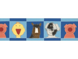 Prepasted Wallpaper Borders - Blue Animals Kids Wall Paper Border