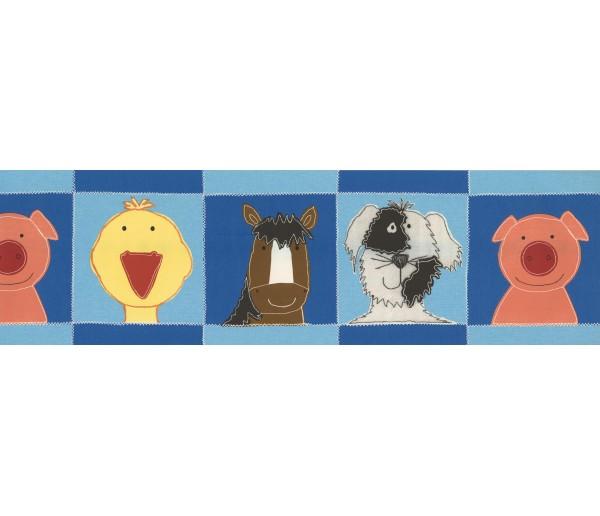 Nursery Wallpaper Borders: Blue Animals Kids Wallpaper Border