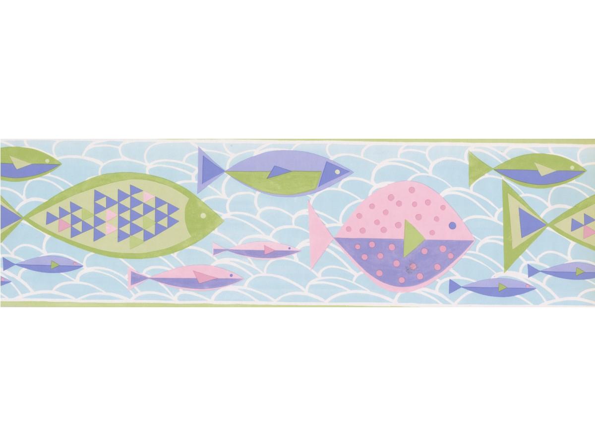 Prepasted Wallpaper Borders Green Blue Purple Pink Fish Wall Paper Border