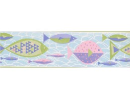 6 1/2 in x 15 ft Prepasted Wallpaper Borders - Green Blue Purple Pink Fish Wall Paper Border
