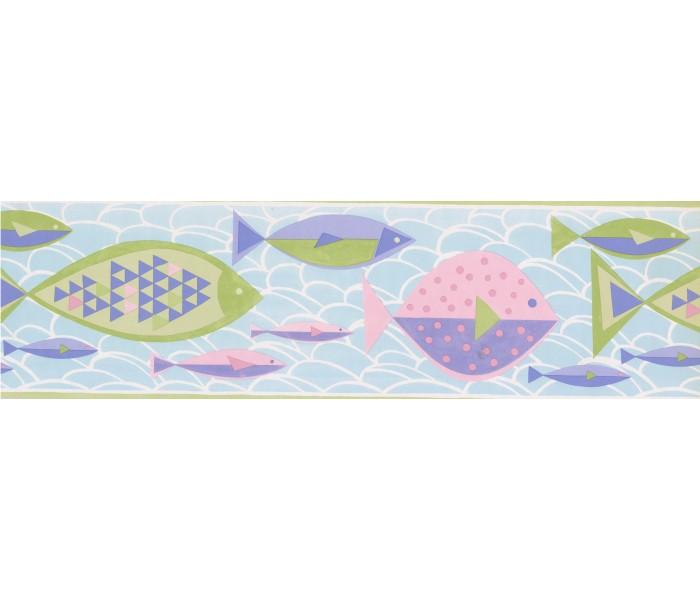 Kids Wallpaper Borders: Green Blue Purple Pink Fish Wallpaper Border