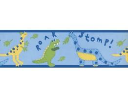 Prepasted Wallpaper Borders - Blue Yellow Kids Dinosaur Wall Paper Border