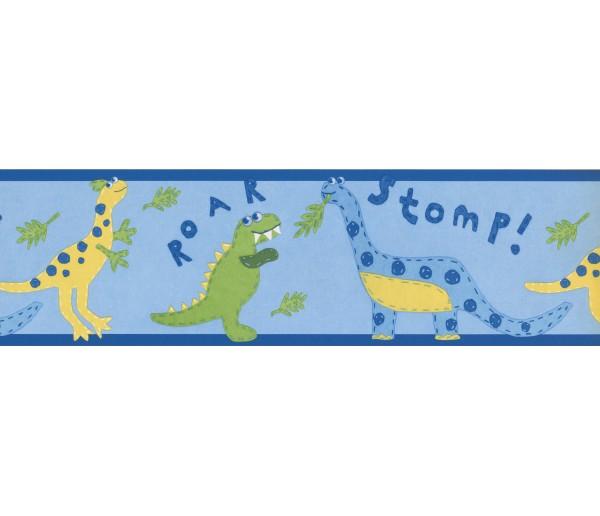 Clearance: Blue Yellow Kids Dinosaur Wallpaper Border