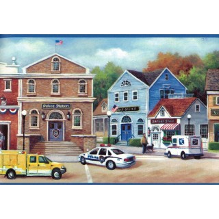 8 in x 15 ft Prepasted Wallpaper Borders - Busy Road Police Station Wall Paper Border