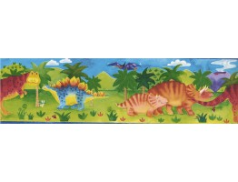 Prepasted Wallpaper Borders - Kids Green Dino Wall Paper Border