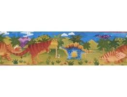 Prepasted Wallpaper Borders - Kids River Green Dino Wall Paper Border