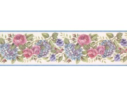 Prepasted Wallpaper Borders - Lavender Pink Roses Wall Paper Border