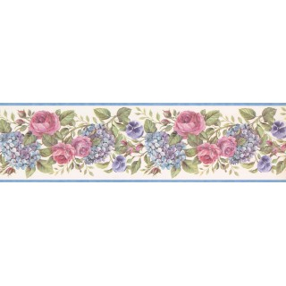 7 in x 15 ft Prepasted Wallpaper Borders - Lavender Pink Roses Wall Paper Border
