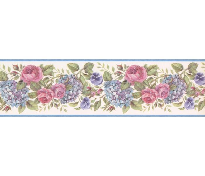 Floral Wallpaper Borders: Lavender Pink Roses Wallpaper Border
