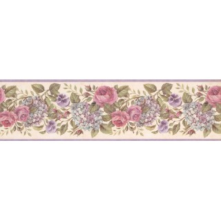 7 in x 15 ft Prepasted Wallpaper Borders - Floral Wall Paper Border GU92103