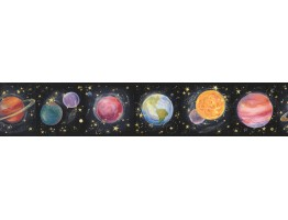 Prepasted Wallpaper Borders - Earth Star Planet Wall Paper Border