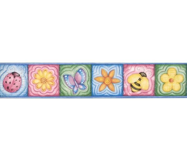 Nursery Wallpaper Borders: Butterfly Flower Bee Wallpaper Border