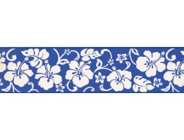 Prepasted Wallpaper Borders - Blue Hibiscus Wall Paper Border