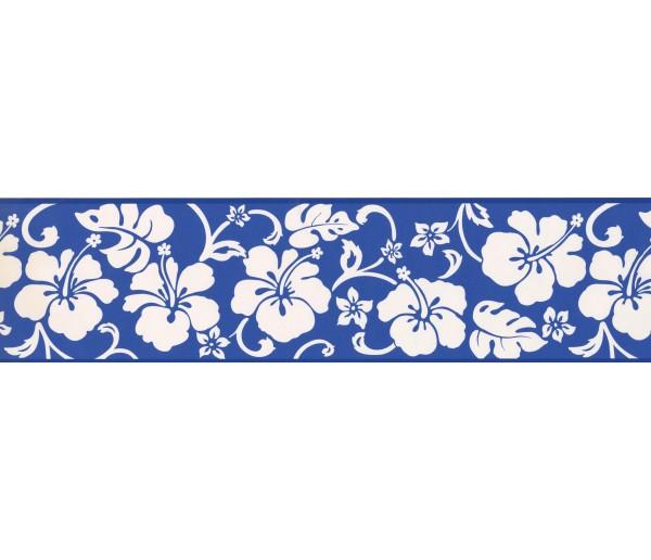 Garden Borders Blue Hibiscus Wallpaper Border York Wallcoverings