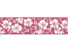 Prepasted Wallpaper Borders - White Hibiscus Wall Paper Border