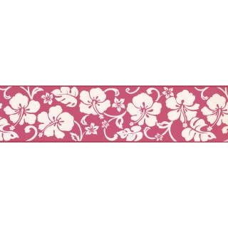 6 in x 15 ft Prepasted Wallpaper Borders - White Hibiscus Wall Paper Border