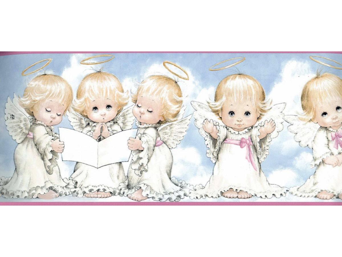 White Baby Angels Blessing Wallpaper Border