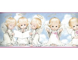 Prepasted Wallpaper Borders - White Baby Angels Blessing Wall Paper Border
