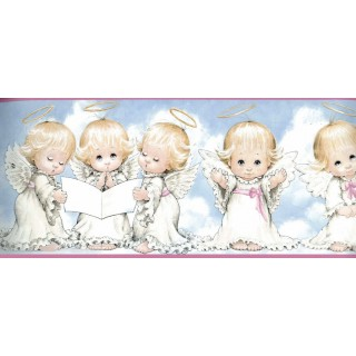6 in x 15 ft Prepasted Wallpaper Borders - White Baby Angels Blessing Wall Paper Border