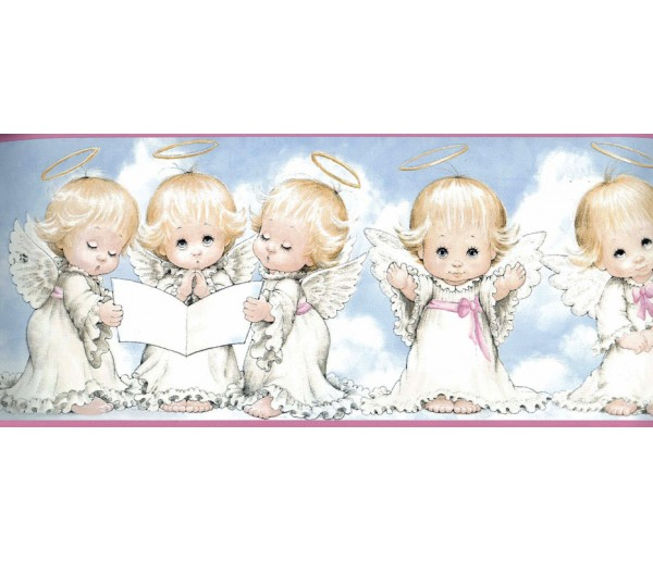 Faith and Angels White Baby Angels Blessing Wallpaper Border York Wallcoverings
